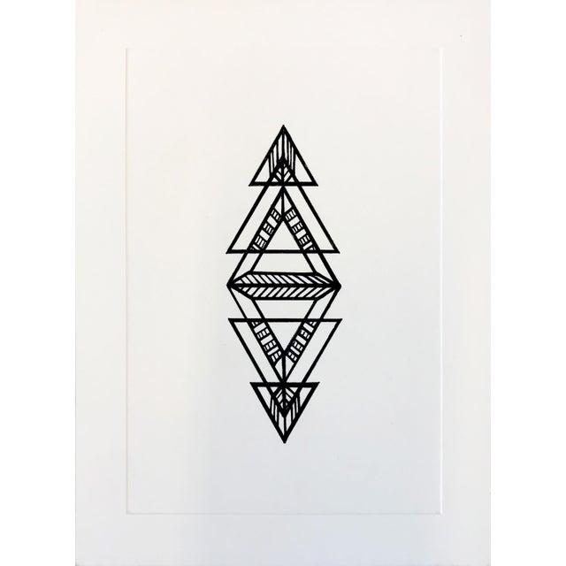 2010s Black Geometric Ink Drawing by Natasha Mistry For Sale - Image 5 of 8