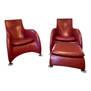 1990s Gerard Van Den Berg for Montis Leather Chairs With Ottoman - Set of 3 For Sale