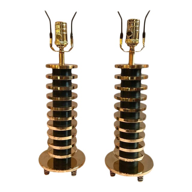 Brass and Metal Disk Shaped Mid-Century Modern Table Lamps - A Pair For Sale