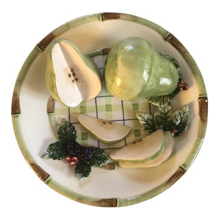 Vintage Bella Casa Ceramic Decorative 3-D Hanging Plate With Pears by Ganz For Sale