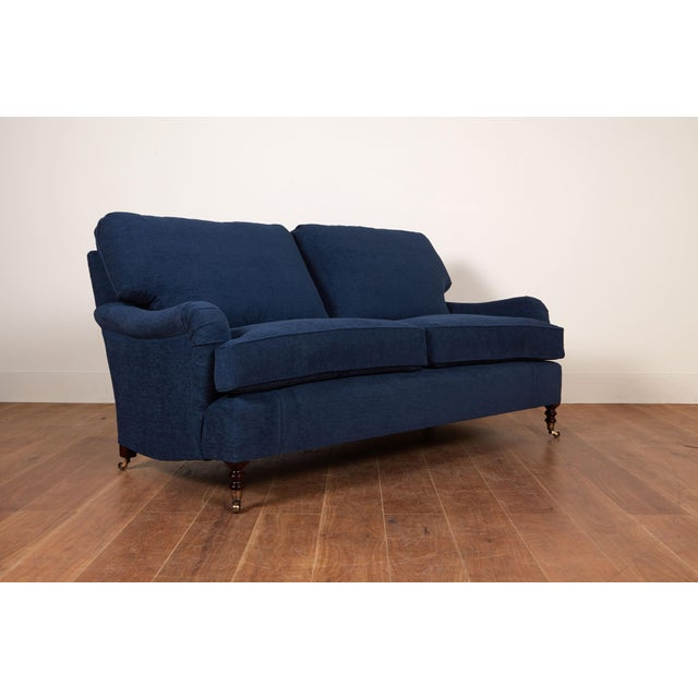 "72"" x 39D x 36H- English Standard Arm Sofa-Like New- Cushion are Feather and Down- Legs are traditional turned with..."
