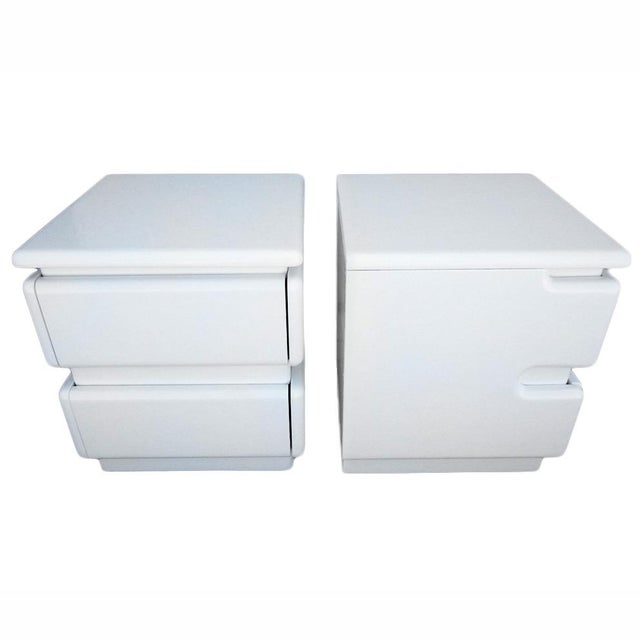 White Lacquer Night Stands by Rougier - Pair For Sale