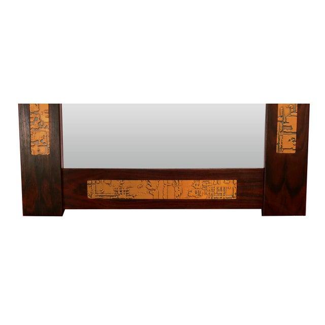 Danish Mid-Century Teak Mirror with Copper Inlays - Image 4 of 4