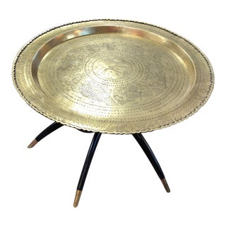 Vintage Mid-Century Brass Tray Table For Sale