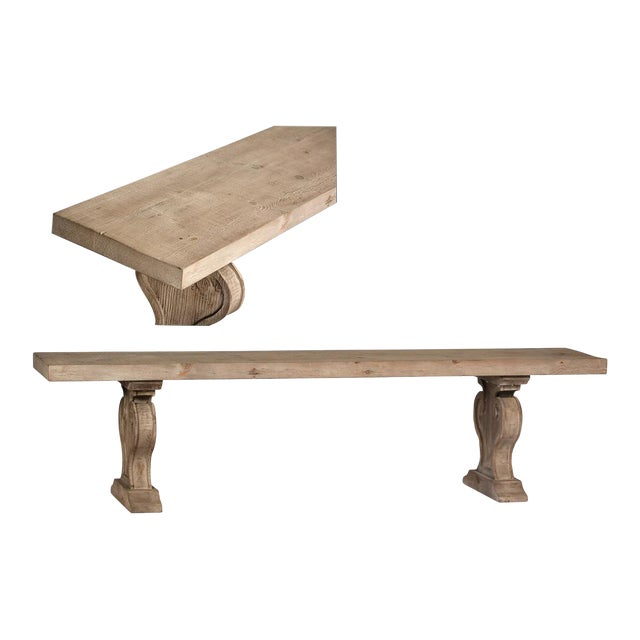 Reclaimed Wood Carved Bench For Sale