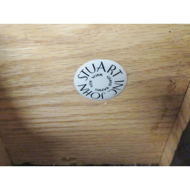 John Stuart Modern Teak & Burlap Breakfront Cabinet - Image 2 of 9