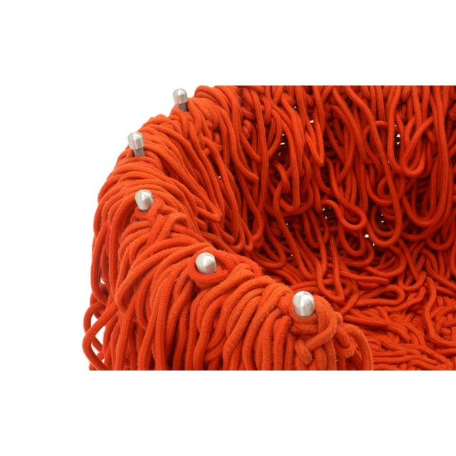 Modern Vermelha Chair by Fernando and Humberto Campana for Edra, Red Rope, Aluminum For Sale - Image 3 of 8