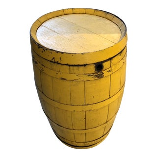 Rustic Yellow Wooden Barrel For Sale