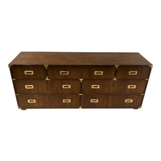 Henredon Campaign Style Chest of Drawers / Credenza For Sale