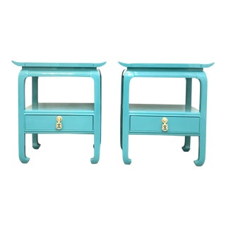 Kent Coffey Turquoise Lacquered End Tables - A Pair For Sale