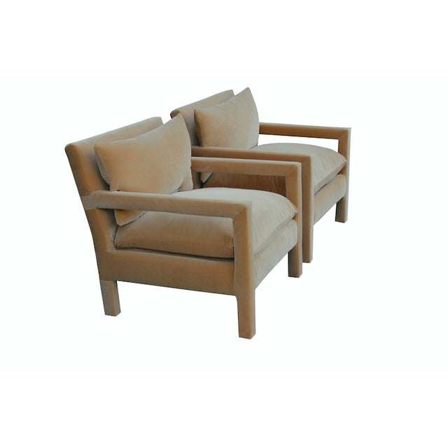 Contemporary Milo Baughman Parsons Chairs Reupholstered in Camel Velvet - a Pair For Sale - Image 3 of 6