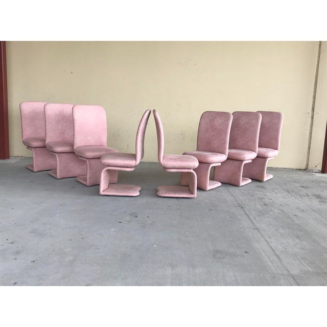1990s 1990s Vintage Milo Baughman for Carsons Pink Upholstered Rolling Swivel Dining Chairs- Set of 8 For Sale - Image 5 of 10