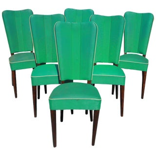 Jules Leleu Style French Art Deco Solid Mahogany Dining Chairs - Set of 6