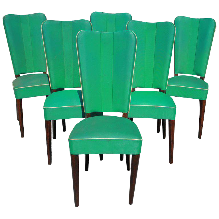 Jules Leleu Style French Art Deco Solid Mahogany Dining Chairs   Set Of 6