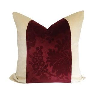 Vintage Burgundy Cut Velvet & Brunshwig & Fils Cream Down Pillow For Sale