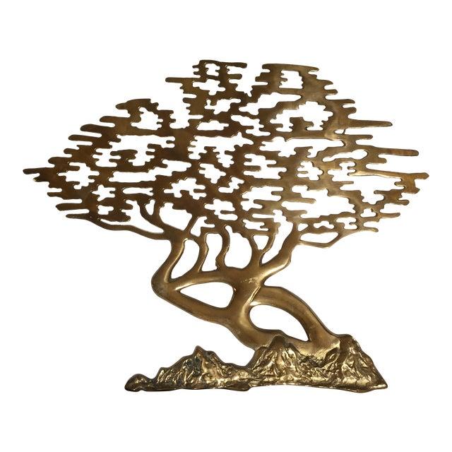 Mid-Century Asian Brass Bonsai Tree - Sculptural Wall Art - Image 1 of 6
