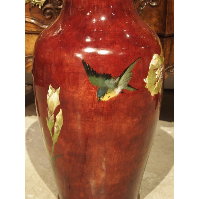 Grand Antique French Barbotine Vase, Parisian School Late 1800s For Sale - Image 4 of 12