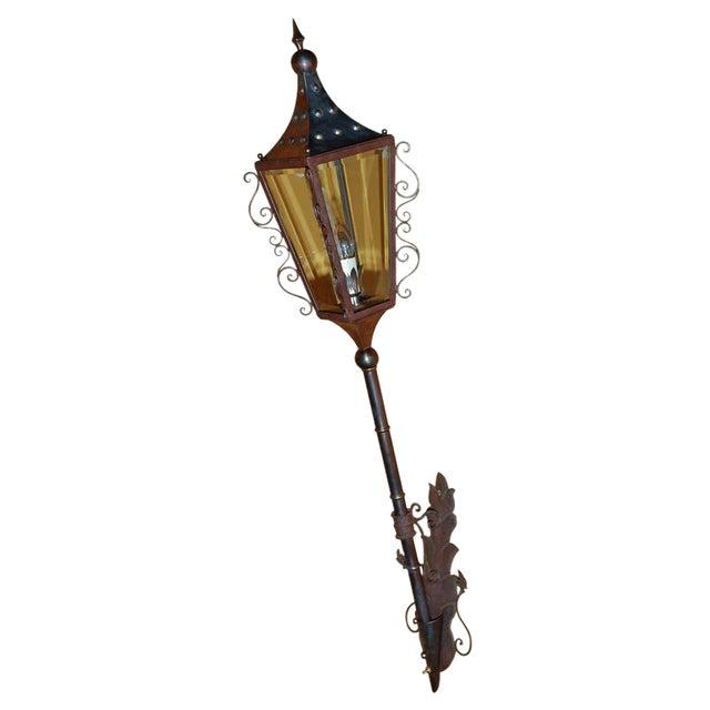 Italian Brass Wall Lantern For Sale