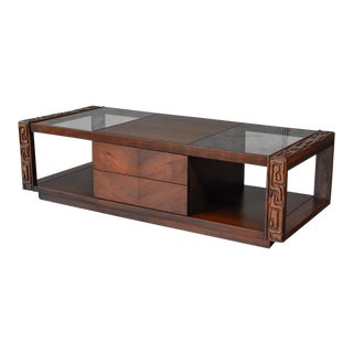 Brutalist Walnut Coffee Table For Sale