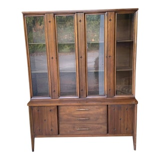 1960's Mid-Century Vintage Broyhill Saga Display Hutch With Glass Doors For Sale