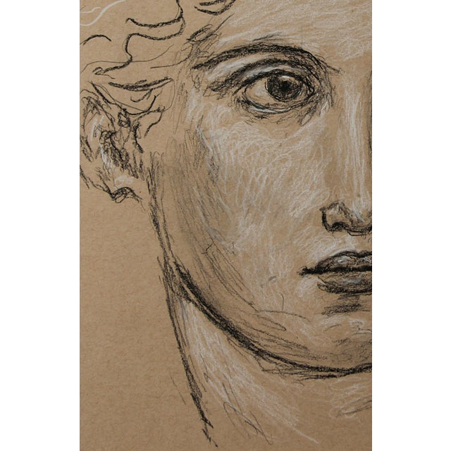 """2010s Sarah Myers Contemporary """"Head of a Woman"""" Charcoal Drawing For Sale - Image 5 of 8"""
