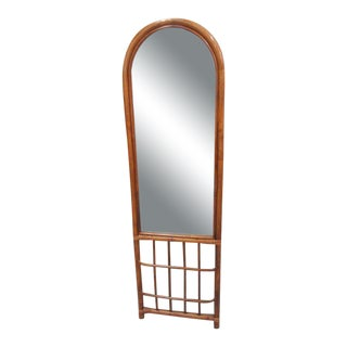 Rattan Mirror with Magazine Holder, Late 20th Century For Sale