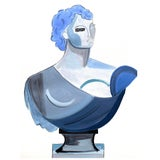 """Image of """"Blue Bust"""" Contemporary Cubist Bust Acrylic Painting by Rebecca Adler For Sale"""
