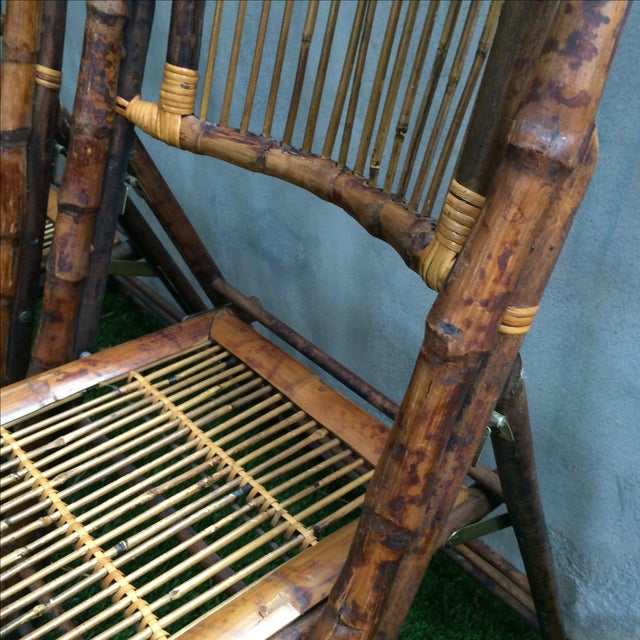 Bamboo Folding Chairs - Set of 4 - Image 6 of 11