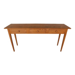 "Hunt Country Solid Oak Shaker Style 3 Drawer Console Table 57""w"