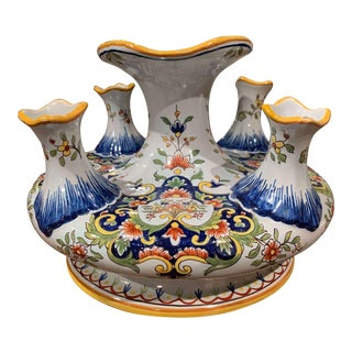 Early 20th Century French Hand Painted Faience Bouquetiere From Rouen For Sale