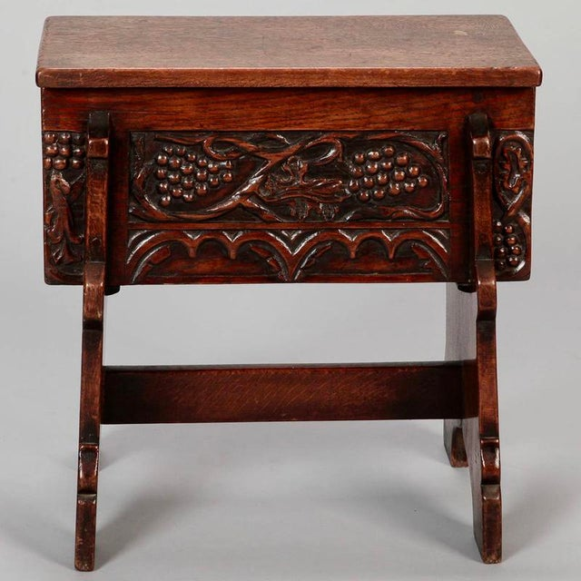 French Hand Carved Oak Stool with Grapes - Image 3 of 9