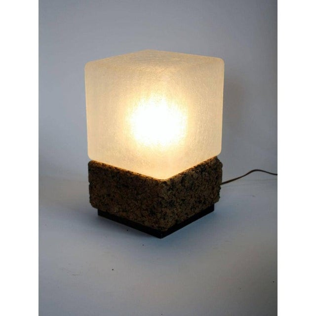 "FINAL MARKDOWN - Here is an amazing vintage lamp from the 60's. Cube-shape cork base table lamp with square textured ""ice""..."