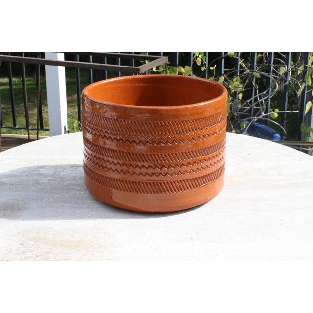Vintage Mid-Century Orange Incised Planter - Image 2 of 9