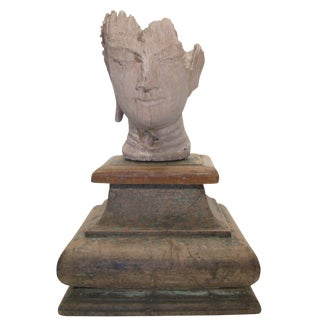 Plaster Buddha Sculpture with Base For Sale