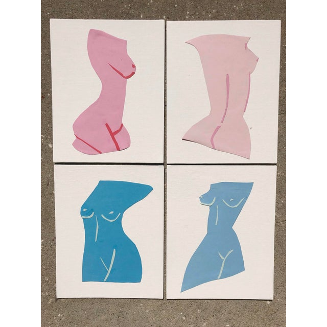 """""""Fair Ladies,"""" by Virginia Chamlee. Signed and dated, 2020. Fine art collage, on small canvas, set of four. ABOUT THE..."""