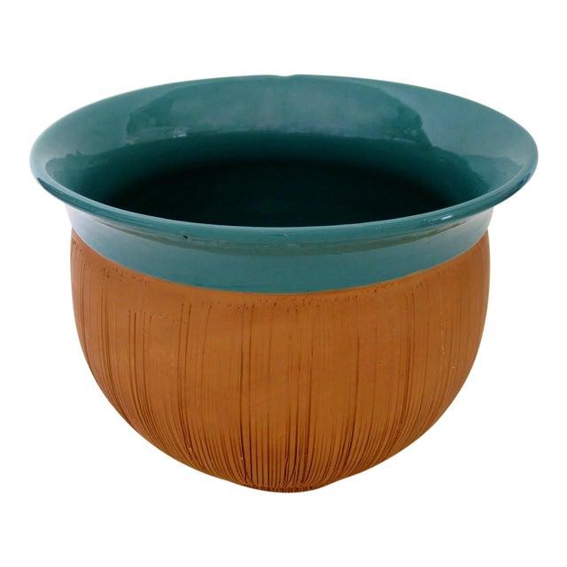 Scored Terracotta & Teal Planter - Image 1 of 5