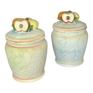 Mid 20th Century Stoneware Fruit Top Cookie Jars - Set of 2 For Sale