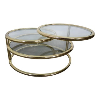 Mid-Century Modern Brass Swivel Top Coffee Table For Sale
