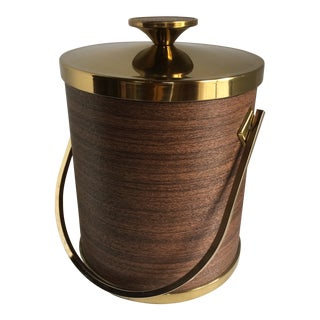 Mid-Century Modern Serv-Master Creations Insulated Walnut and Brass Ice Bucket For Sale