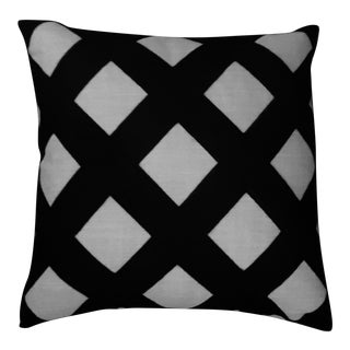 Modern Farmhouse Embroidered Lattice Pillow For Sale