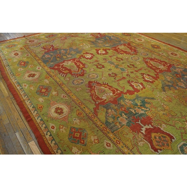 """Late 19th Century Antique Oushak Rug 10'8"""" X 14'6"""" For Sale - Image 5 of 6"""