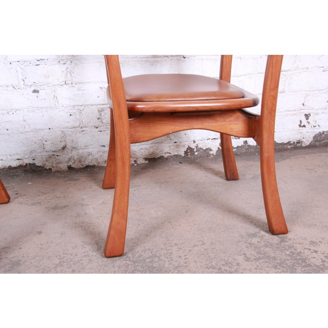 Brown 1960s Sculpted Solid Teak and Leather Studio Crafted Club Chairs - a Pair For Sale - Image 8 of 13