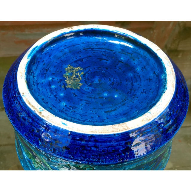 Vintage Mid-Century Modern Bitossi Blue Art Pottery Lidded Jar For Sale In Providence - Image 6 of 8
