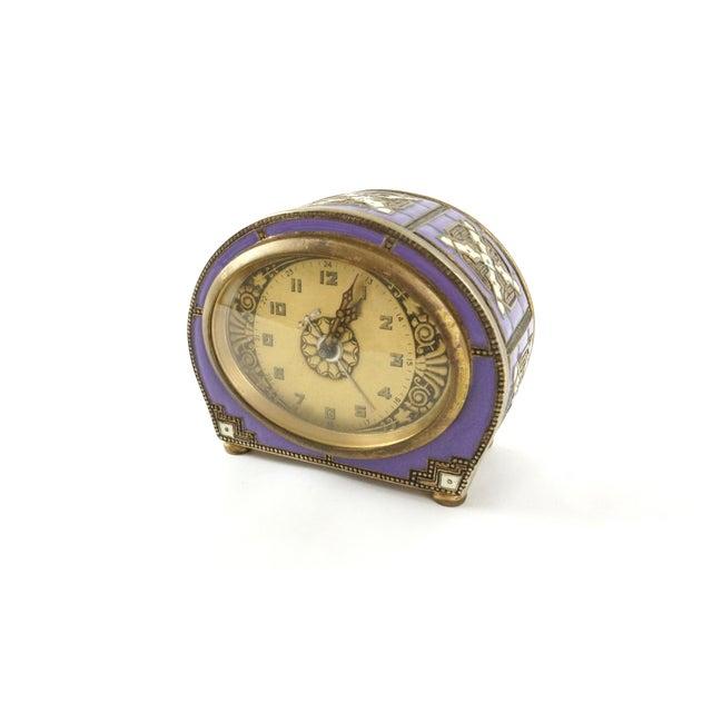 Antique Enamel Cloisonne Mantel or Desk Clock - Image 3 of 7