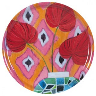 """Red Flamingo"" Round Tray"