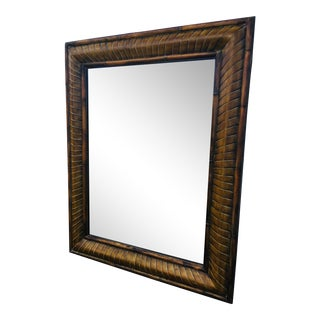 Vintage 1990s Large Bamboo Framed Wall Mirror For Sale