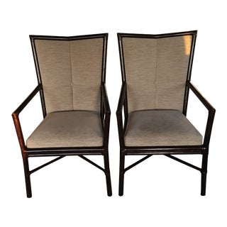Transitional McGuire Arm Chairs - A Pair For Sale