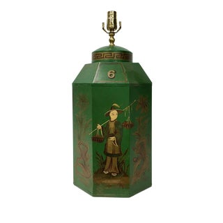 English Export Chinoiserie Tea Caddy Lamp For Sale