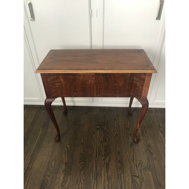 Brass 1950s Queen Ann Baker Furniture Walnut Console Table For Sale - Image 7 of 10