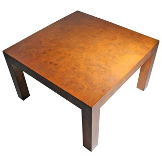 1970s Mid-Century Modern Milo Baughman Burl Olivewood Parsons Coffee Table For Sale